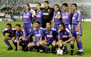5 May 1999:  Fiorentina Players line up before the Coppa Italia Cup Final match against Fiorentina played in Fiorentina, Italy.  The match finished in 2-2 draw, however Parma won the match on the away goals rule.  Mandatory Credit: Allsport UK /Allsport