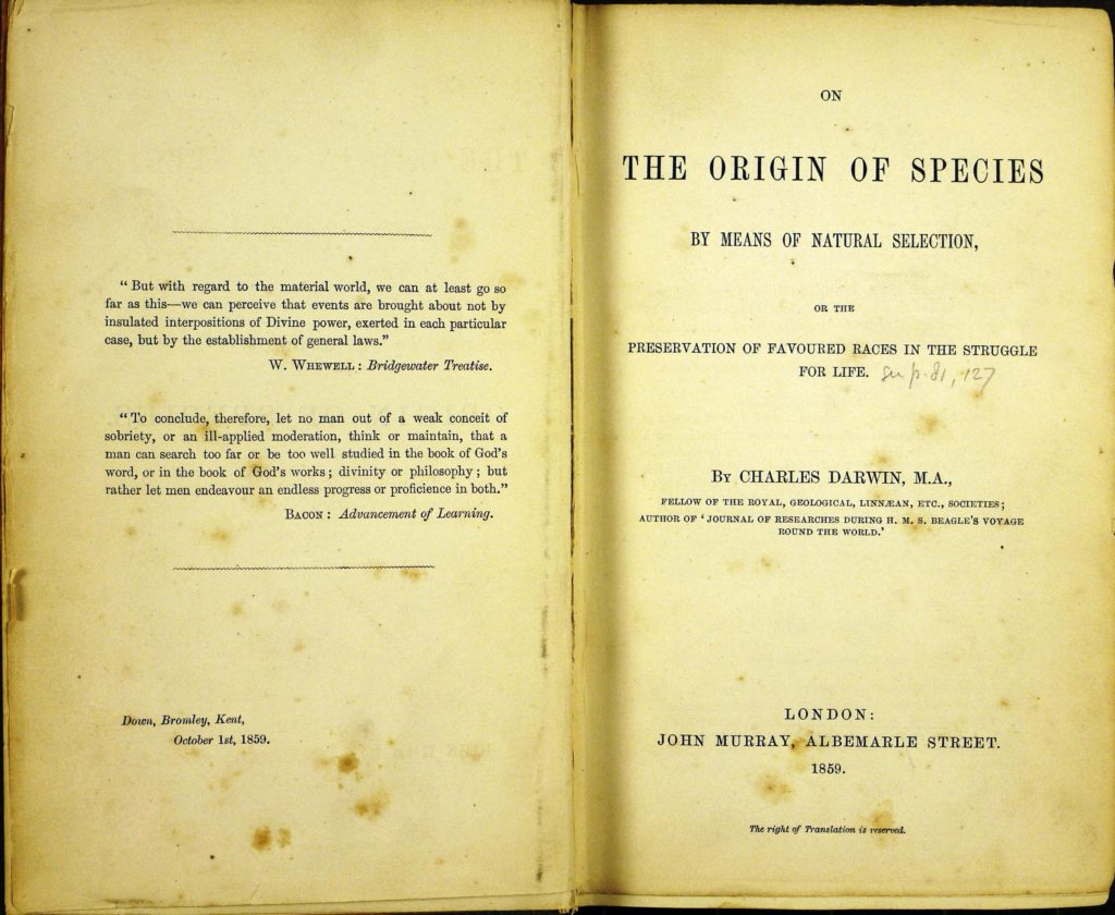 On the Origin of Species by Natural Selection pubblicato nel 1859